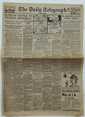 Vintage Newspaper.the Daily Telegraph.london.friday January 15Th.1943.6 Page's.