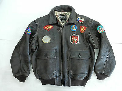 Avirex Vintage Aviator Motorcycle Fly Jacket Giacca Pelle Leather