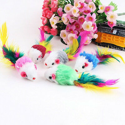 10pcs/Lot Soft Funny Fleece False Mouse Feather Playing Toys For Pet Cat