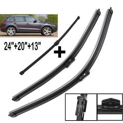 "Front Rear Windshield Wiper Blades Set Fit For Audi Q5 2008-2017 24"" 20"" 13"""