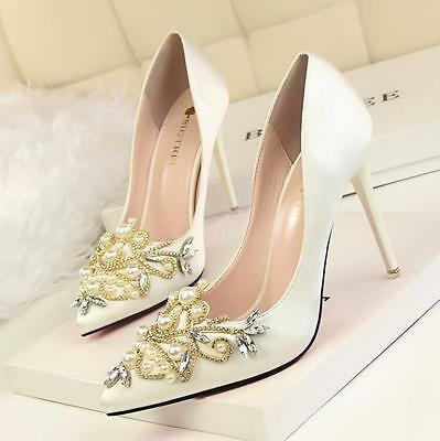 Womens Party Satin Stiletto High Heel Diamante Pearl Bridal Evening Court Shoes