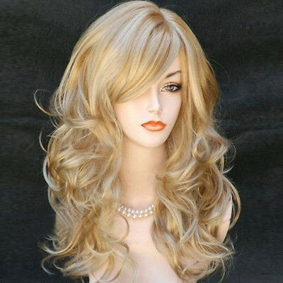 """23"""" Women's Heat Resistant Hair Blonde Middle Long Curly Full Wig + Wig Cap"""