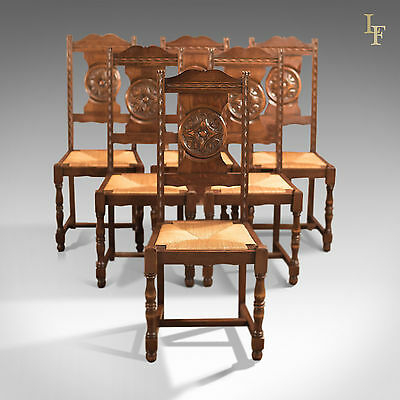 Antique Set of 6 Dining Chairs, Edwardian English Country Kitchen Oak Furniture