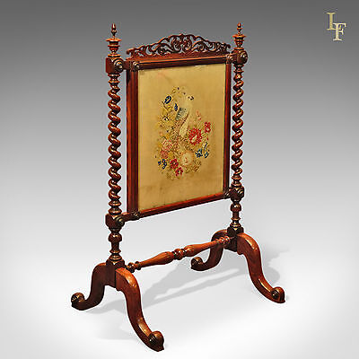 Antique, Fire Screen, English, Rosewood, Needlepoint Textile Victorian, c.1850