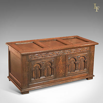 Antique Coffer, 18th Century English Oak Chest, Carved Trunk, Country Furniture