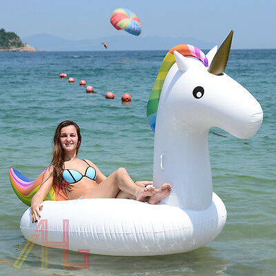 Giant Inflatable Unicorn Rainbow Water Float Raft Swimming Pool Fun Sports Toys