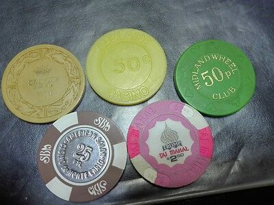 Lot 5 different Casino chips