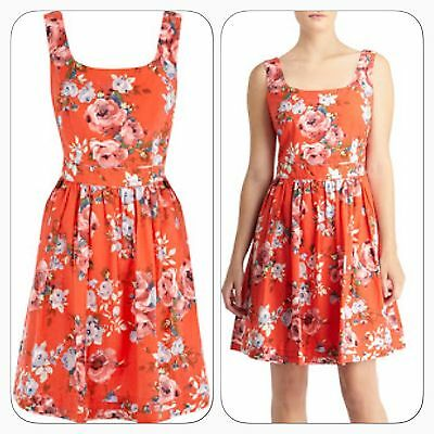 18f1818b8cc6 Stunning Oasis Coral Floral Rose Print Summer Evening Day Summer Dress Size  12