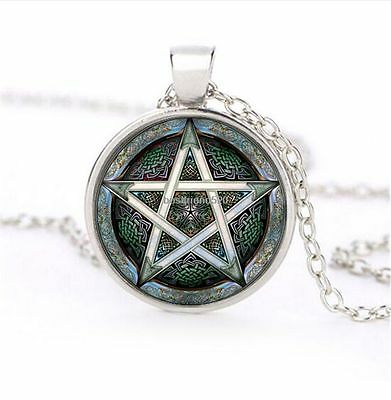 gothic SILVER ceremony  PENTAGRAM WICCA PAGAN  magic WITCH GOTH Glass Necklace