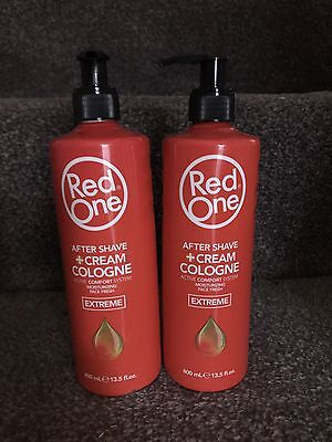 2 Bottles Of Red One After Shave Cream  And Cologne -  Extreme 400ml Free P&P