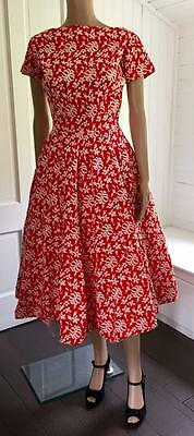 Fabulous Anne Fogarty Red Covered w White Embroidered Full Skirt Dress 1950's
