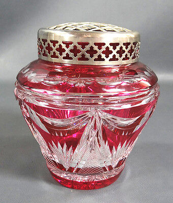 Art Deco Val St.lambert~Simon Cranberry Cut Clear Crystal Glass Vase Flower Frog