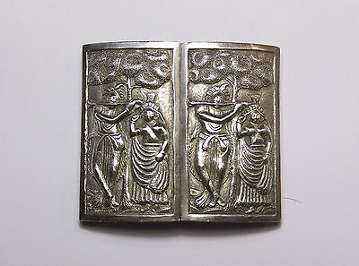 Large solid silver nurses style panel belt buckle Indian / Asian Village scene