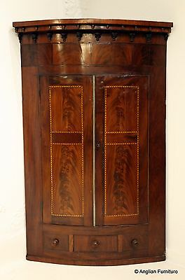 1800's Bow Front Corner Cupboard with Inlaid Marquetry FREE Nationwide Delivery
