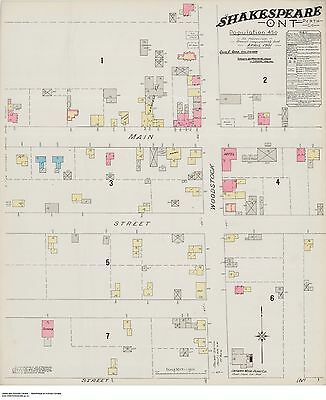 SHAKESPEARE ONTARIO Street and Building Map 1901