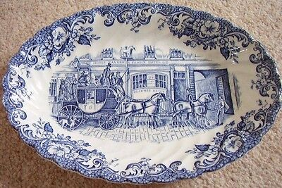 Johnson Bros England Porcelain blue and white small oval dish,Coaching Scenes
