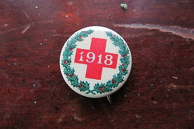 Green holiday wreath RED CROSS pin, button, 1918, old, Ehrman advertising