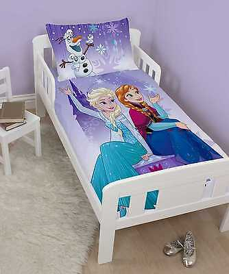 Disney Frozen Junior Toddler Cot Bed Size Duvet Cover Set Girls Purple Bedroom