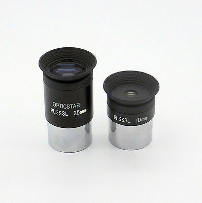 "Opticstar 1.25"" 10mm & 25mm Plossl Eyepieces - Set of 2 (UK)"
