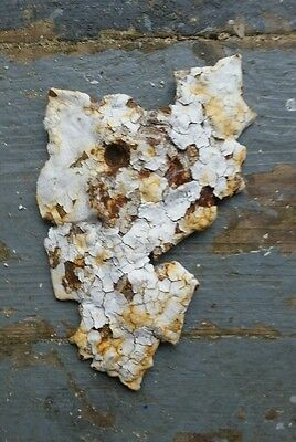 "Antique Garden Urn LEAF 4"" Cast Iron Awesome chipping chippy white paint"