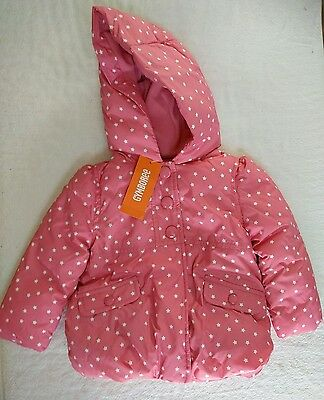 GYMBOREE Hooded Puffer Baby Girl Jacket Winter Coat Pink 12-24 months NWT
