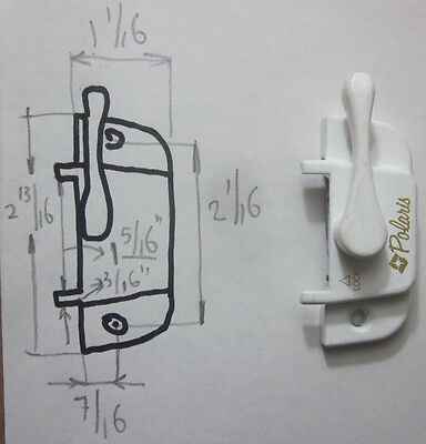 "1 Polaris white sliding window sash lock: 2-1/16""C-C, backset=7/16"" 12883 12884"