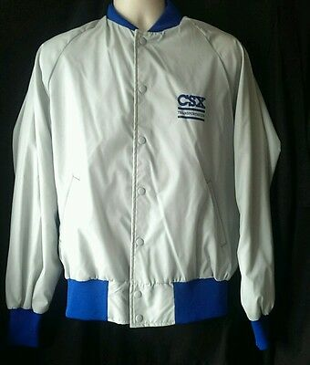 CSX Transportation Jacket Button Up Railroad Mens Size Large Train Coat USA Made