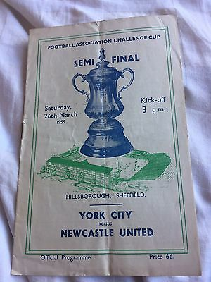 1955 FA Cup Semi-Final NEWCASTLE UNITED v YORK CITY Official Football Programme