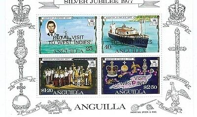"ANGUILLA 4 stamp Mini Steet "" Royal Visit to West Indies 1977 "" MNH"