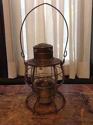 Antique Gtr Grand Trunk Railroad Bell Bottom Lantern - All Original - Etw Glass