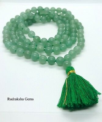 Aventurine Natural Japa Mala Beads Rosary Green Prayer Beads Yoga Meditation Om