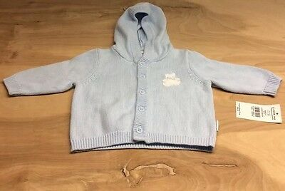 Baby Boys Size 3 Months Little Me Blue Hooded Sweater See Pics!