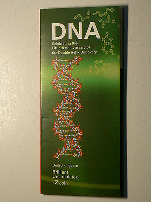 UK 2003 DNA Structure Discovery, 2 Pound Coin Set From The Royal Mint #G4796