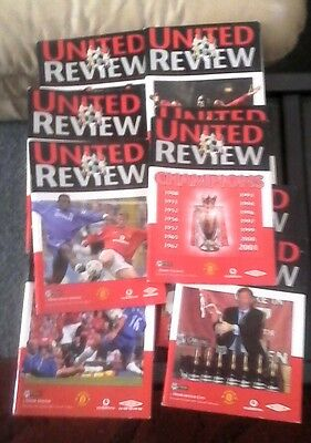 10 Manchester united home programs 2000/01 season all mint