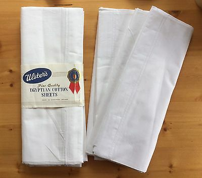 Vintage 50s Bed Sheets Pair Irish Egyptian Cotton 1950s Quality Linen Unused