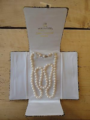 1971 Vintage Cultured Pearl 'Opera Length' Necklace w/14K Gold & Pearl Clasp