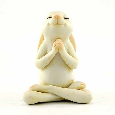 Yoga Bunny in Seated Namaste Pose Statue Miniature (4391) 2.25 Inches