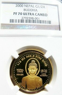2000 Nepal Gold Buddha 1/2 oz. Coin NGC PF70 NOBLE PROOF Singapore Mint PERFECT