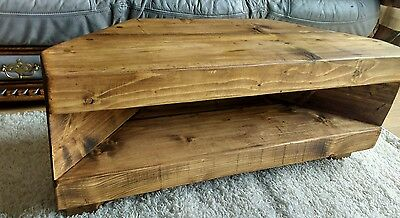 Corner Rustic Pine TV Unit solid chunky wood stand/cabinet - rustic pine