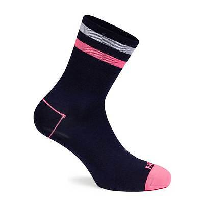 Rapha Brevet Cycling Socks Navy Blue / Pink Size Large BNWT