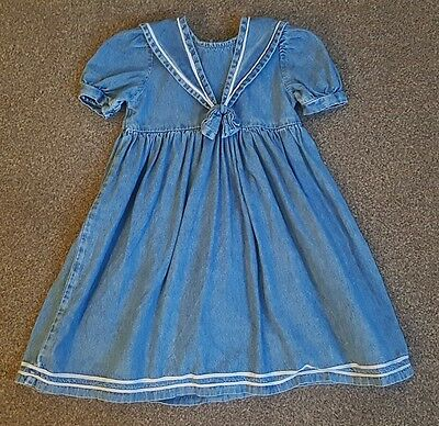 Vintage Mothercare Nautical Denim Sailor Dress Age 3-4