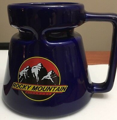 Vintage Rocky Mountain Bicycle Cobalt Blue Coffee Mug Made In The USA