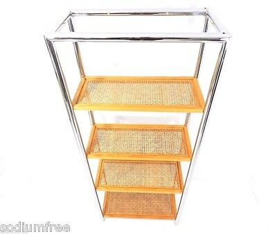 Vintage Mid Century Wall Unit Room Divider Chrome Frame Shelf Etagere