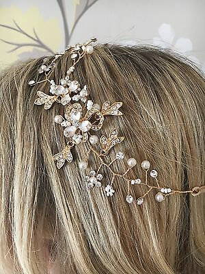 Beautiful Handmade Vintage style gold crystal bead bridal hair vine hairband