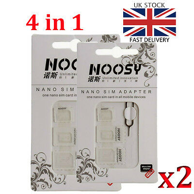 2 x 4 IN 1 Nano To Micro & Standard Sim Card Adapter iPhone Samsung Mobile Phone