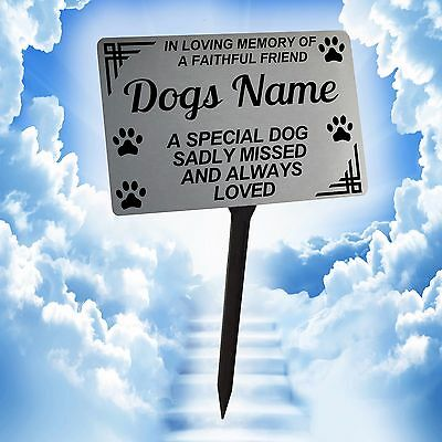 Personalised Dog Memorial Plaque Brushed Silver. Pet. For garden, grave etc