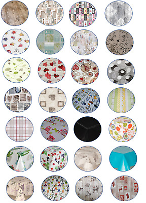 Luxury Traditional Pvc Wipe Clean Round Circle Vinyl Table Cloth Parties Events