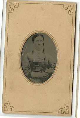 Antique Tintype Photo Young Woman Mrs.John A
