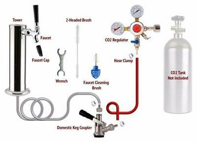 1 Tap Chrome Tower Draft Beer Kegerator Conversion Kit!