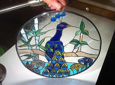 "Vintage Stained Glass Round Window Panel or Wall Hanging LARGE 17"" Peacock Bird"